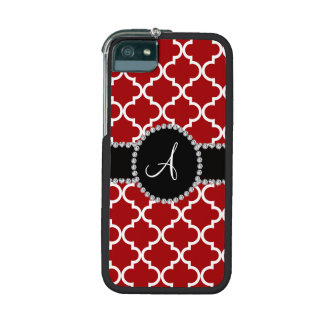 Monogram red moroccan quatrefoil iPhone 5/5S cases