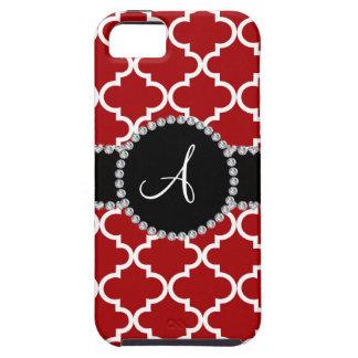 Monogram red moroccan quatrefoil iPhone 5 cover