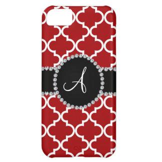 Monogram red moroccan quatrefoil case for iPhone 5C