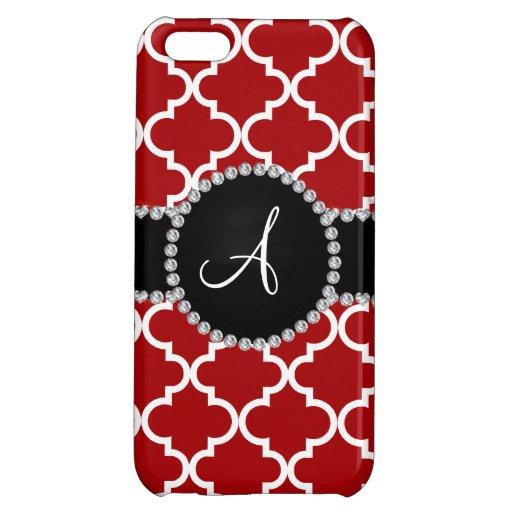 Monogram red moroccan quatrefoil iPhone 5C case