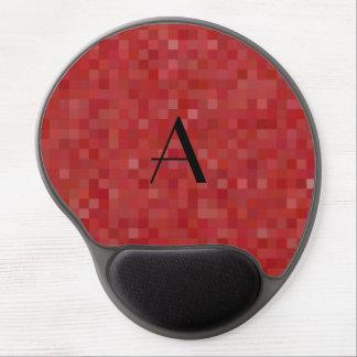 Monogram red mosaic squares gel mouse pad