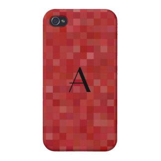 Monogram red mosaic squares iPhone 4 cover
