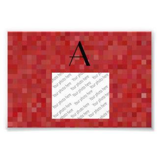 Monogram red mosaic squares photographic print