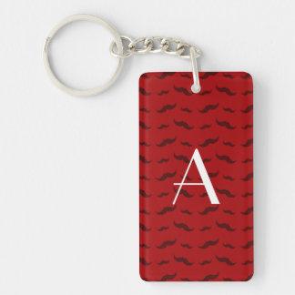 Monogram red mustache pattern acrylic keychains