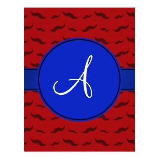 Monogram red mustaches blue circle flyer design