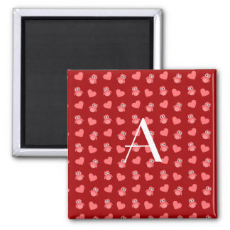 Monogram red owls and hearts magnet