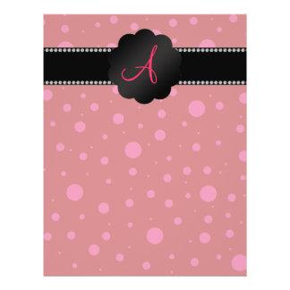 Monogram red pink polka dots full color flyer