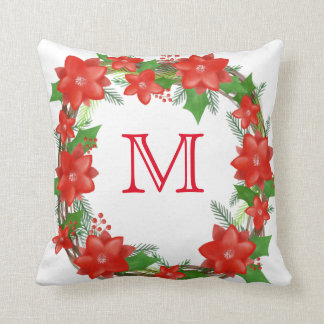 Monogram Red Poinsettia Wreath Christmas Holiday Cushion