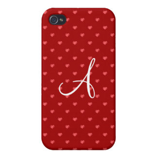 Monogram red polka dot hearts cover for iPhone 4