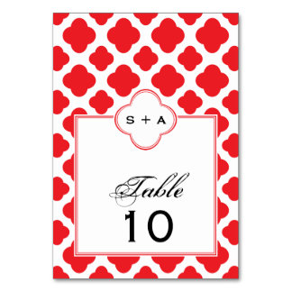 Monogram Red Quatrefoil Pattern Wedding Table Cards