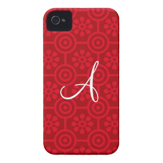 Monogram red retro flowers and circles Case-Mate blackberry case