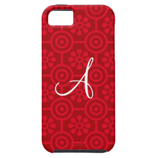 Monogram red retro flowers and circles iPhone 5 cover