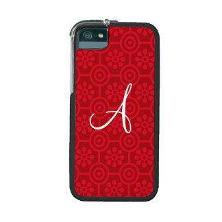 Monogram red retro flowers and circles iPhone 5/5S covers