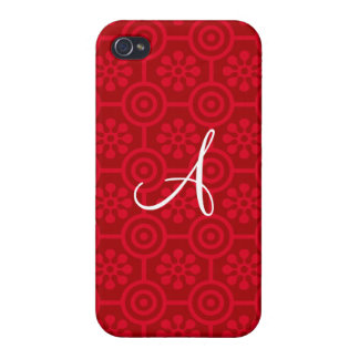 Monogram red retro flowers and circles covers for iPhone 4