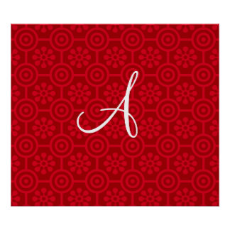 Monogram red retro flowers and circles poster