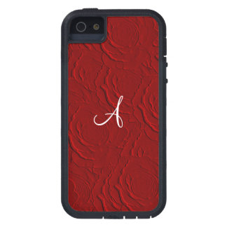 Monogram red roses faux texture iPhone 5 cover