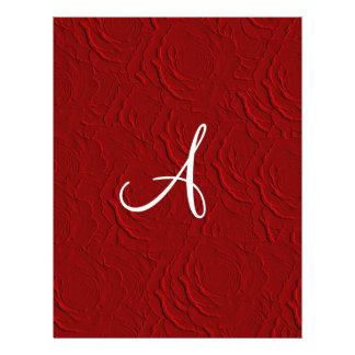 Monogram red roses faux texture custom flyer