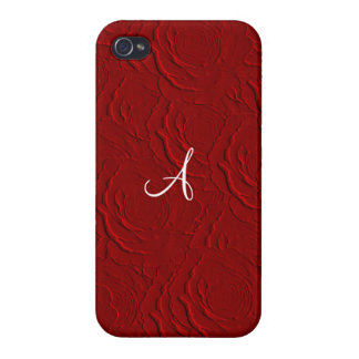 Monogram red roses faux texture iPhone 4 cover