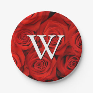 Monogram Red Roses Floral Pattern 7 Inch Paper Plate