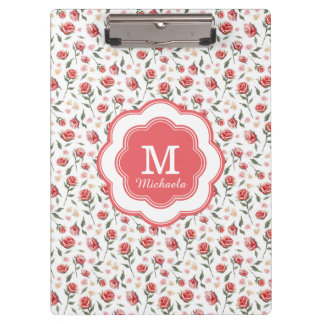 Monogram Red Roses Girly Pretty Clipboard