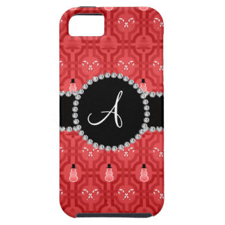 Monogram red snowman trellis pattern iPhone 5 cases