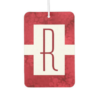 Monogram Red Speckled Car Air Freshener