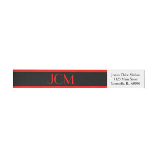 Monogram Red Stripe / Black on White Wrap Around Label