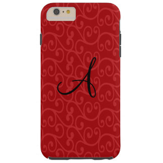 Monogram red swirls tough iPhone 6 plus case