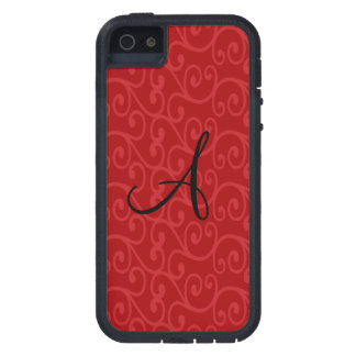 Monogram red swirls iPhone 5 cover