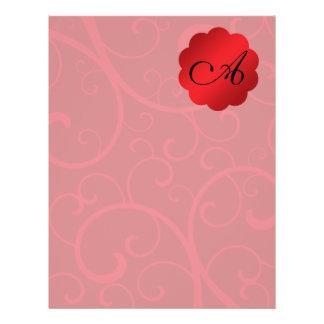 Monogram red swirls full color flyer