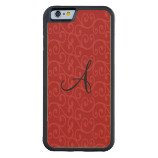Monogram red swirls carved® maple iPhone 6 bumper case