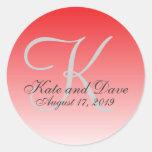 Monogram Red Wedding Favour Round Sticker