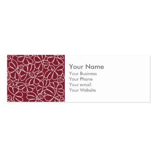 Monogram Red Whimsical Ikat Floral Doodle Pattern Business Cards