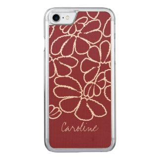 Monogram Red Whimsical Ikat Floral Doodle Pattern Carved iPhone 8/7 Case