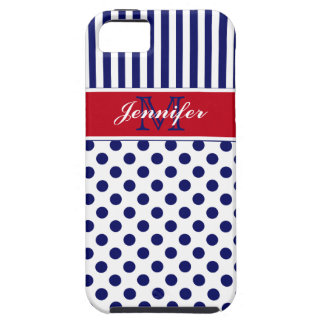 Monogram Red White Blue Striped Dots iPhone 5 Case For The iPhone 5