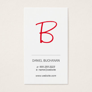Monogram (red) / White / Minimal Business Card