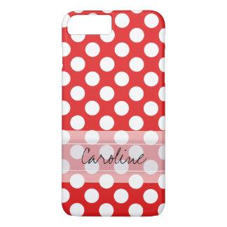 Monogram Red White Trendy Fun Polka Dot Pattern iPhone 7 Plus Case