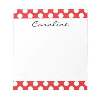 Monogram Red White Trendy Fun Polka Dot Pattern Notepad