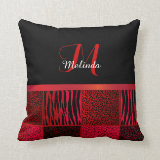 Monogram Red Wild Animal Patterns Cushion