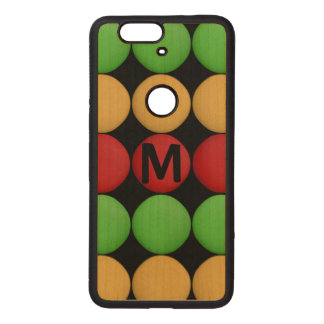 Monogram Red Yellow Green Dots Wood Nexus 6P Case