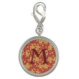 Monogram red yellow jigsaw pattern