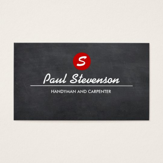 Monogram Repairman and Carpenter Black Chalkboard Business Card