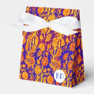 Monogram Resplendent Floral Blue Pattern Favor Box