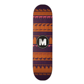 Monogram Retro Colorful Animals Pattern #2 21.6 Cm Skateboard Deck