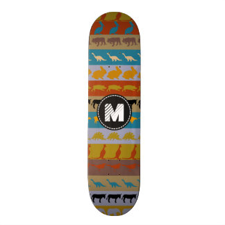 Monogram Retro Colorful Animals Pattern #8 Skate Deck