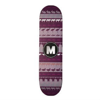 Monogram Retro Colorful Animals Pattern Skateboard