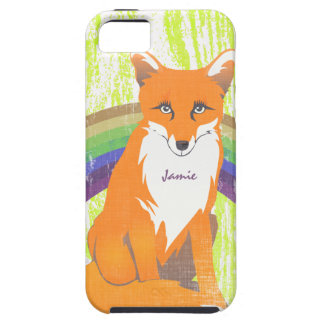 Monogram Retro Fox Art Lime Orange Retro iphone 5 iPhone 5 Cover