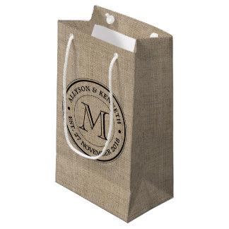 Monogram Retro Logo Burlap Wedding Thank You Small Gift Bag