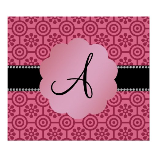 Monogram retro pink flowers and circles poster
