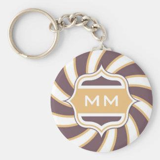 Monogram Retro Spiral orange purple Basic Round Button Key Ring